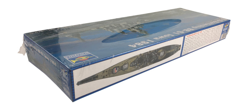 USS Iowa Battleship BB-61 1984, 1:700 Scale Model Kit By Trumpeter Side Of Box