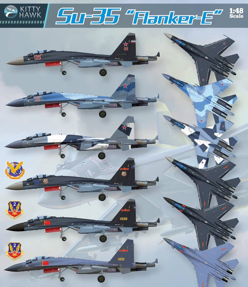 Sukhoi Su-35 Flanker E, 1:48 Scale Model Kit By Kitty Hawk Paint Scheme Options