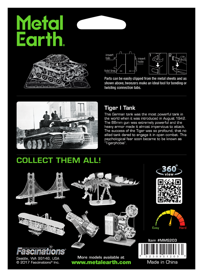 Tiger I Tank Metal Earth Model Kit Back