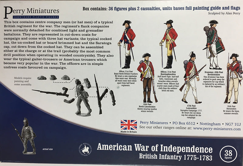 Perry Miniatures British Infantry 1775-1782 (28mm) Plastic Figures Kit Back of Box