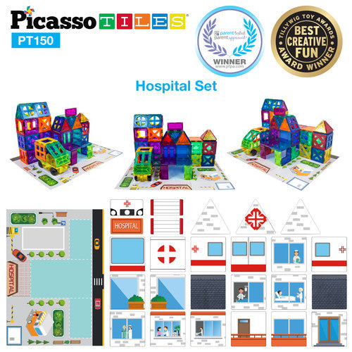 School, Hospital & Police 3 In 1 Theme Building Block Tile Set - Hospital