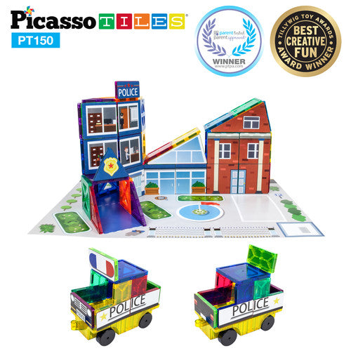 School, Hospital & Police 3 In 1 Theme Building Block Tile Set -  Police Station Example