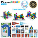 School, Hospital & Police 3 In 1 Theme Building Block Tile Set - Police Station