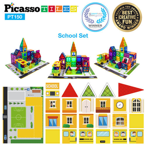 School, Hospital & Police 3 In 1 Theme Building Block Tile Set - School