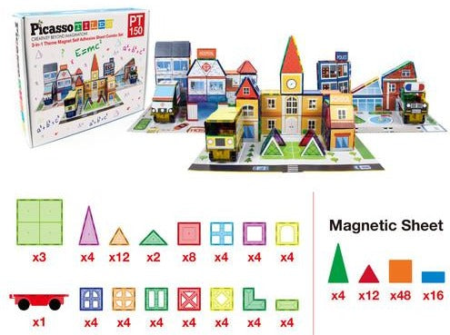 School, Hospital & Police 3 In 1 Theme Building Block Tile Set By Picasso Tiles