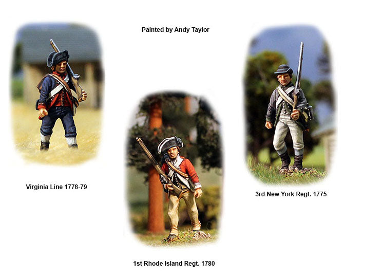 American War Of Independence Continental Infantry 1776-1783, 28 mm Scale Model Plastic Figures Painted Sample