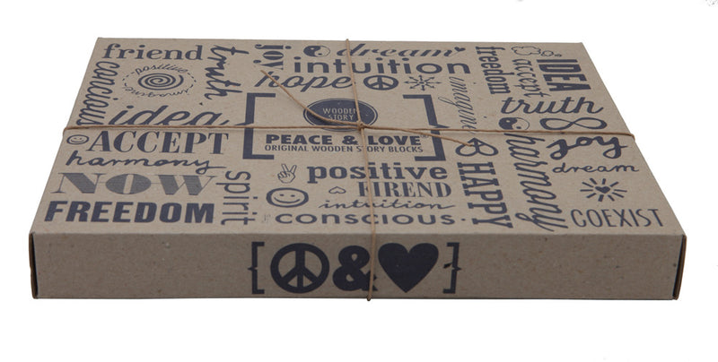 Peace & Love Natural Colored Blocks In Tray – 29  pcs