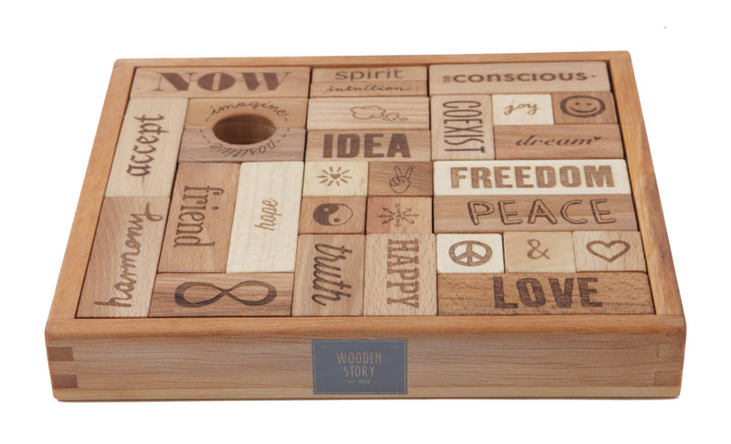Peace & Love Natural Colored Blocks In Tray – 29  pcs By Wooden Story