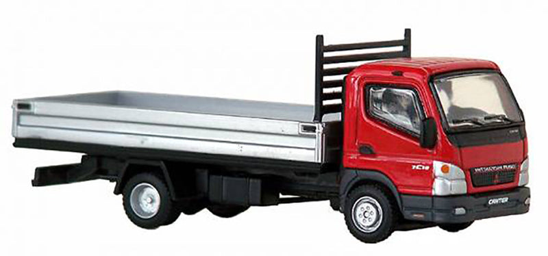 Mitsubishi Fuso Canter F E (Sterling 360) Small Utility Flat Bed (Red Cab) Scale 1:87 (HO Scale) Model By Promotex
