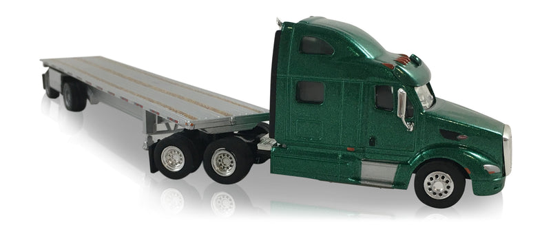 Peterbilt 587 Tractor (Green) w/ Spread Axle Highboy Trailer (Silver) Scale 1:87 (HO Scale) Model By Promotex