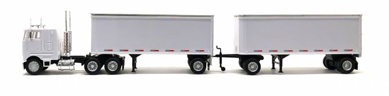 Promotex Peterbilt 3 Axle COE w/ 2 - 27ft pup trailers 1/87 Scale