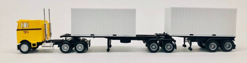Peterbilt COE (Yellow) B-Train trailers  and 2 - 20 ft containers (White)  1:87 (HO Scale) Model By Promotex