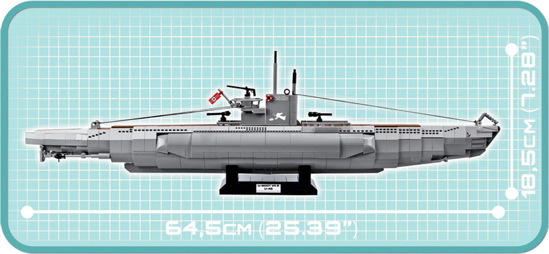 U-Boot U-48 Type VIIB Submarine, 800 Piece Block Kit Side Dimension View
