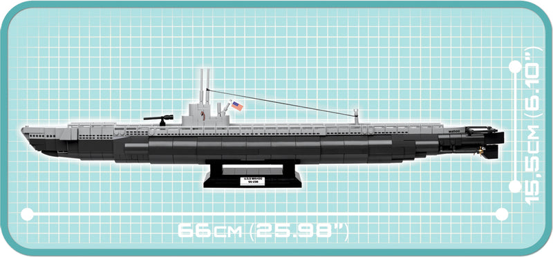 USS Wahoo Submarine SS-238, 700 Piece Block Kit By Cobi Side View Dimensions