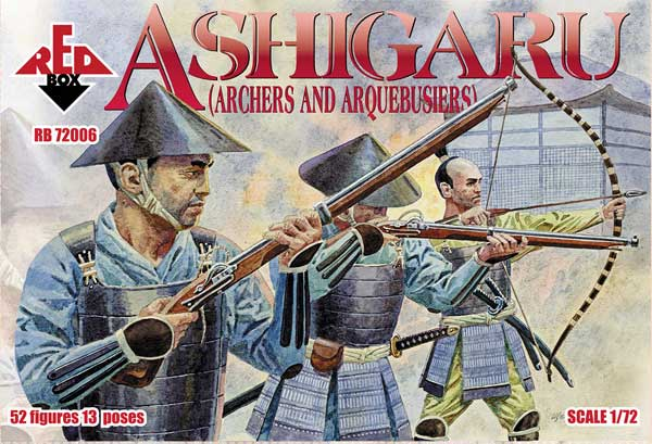 Ashigaru Archers & Arquebusiers Medieval Japan 1/72 Scale Model Plastic Figures By Red Box Cover Art
