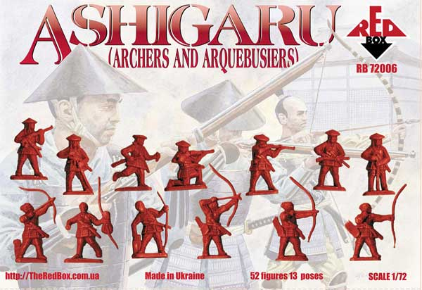 Ashigaru Archers & Arquebusiers Medieval Japan 1/72 Scale Model Plastic Figures By Red Box Back of Box