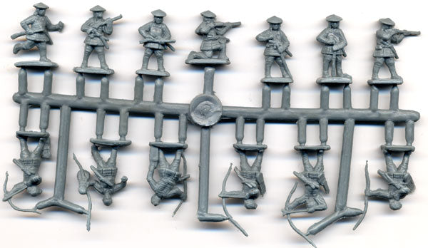 Ashigaru Archers & Arquebusiers Medieval Japan 1/72 Scale Model Plastic Figures By Red Box Sample Sprue