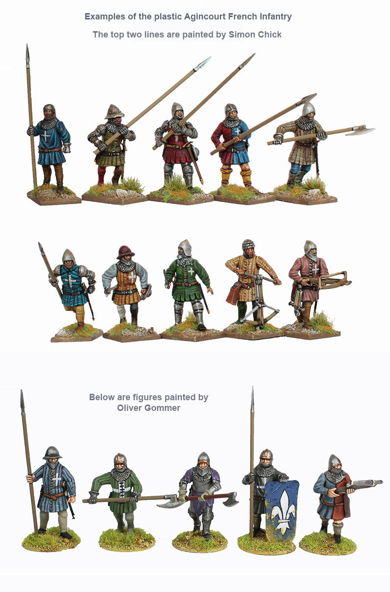 Perry Miniatures Agincourt French Infantry 28 mm Plastic Miniatures Kit Example