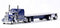 Kenworth W-900L Truck (Blue) with 48' Spread Axle Flatbed Trailer (Blue) Scale 1:87 (HO Scale) Model by Trucks N Stuff