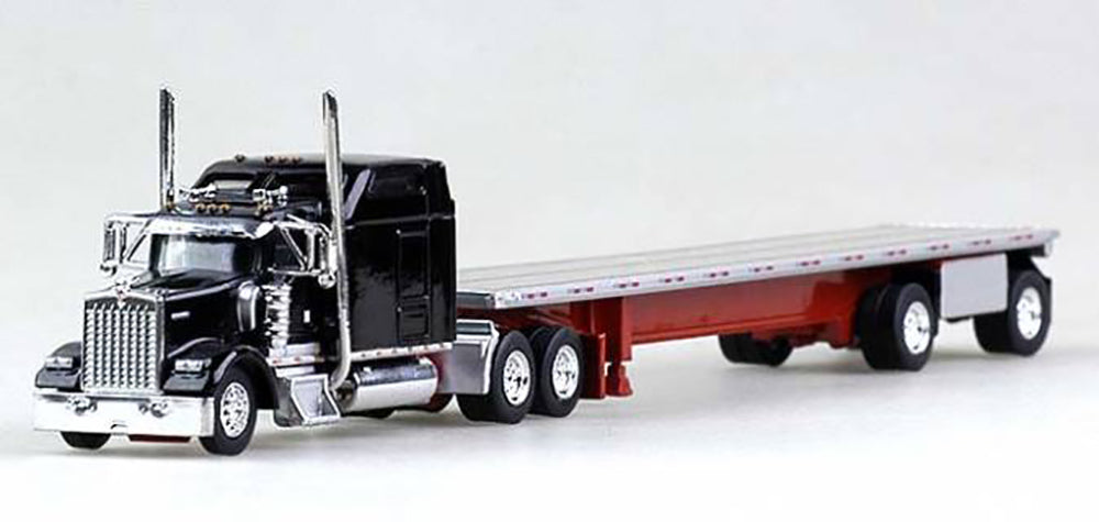 Trucks N Stuff Kenworth W-900L (Black) with 48ft Spread Axle Trailer