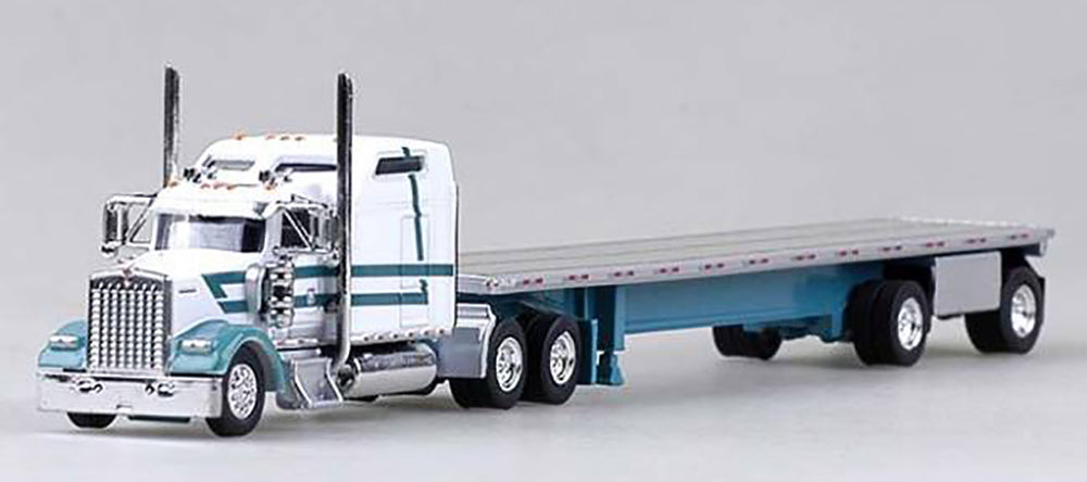Trucks N Stuff Kenworth W-900L (White) with 48ft Spread Axle Flatbed Trailer