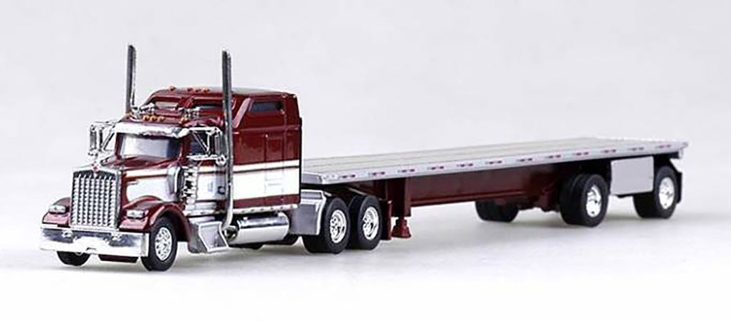 Kenworth W-900L Truck (Fire Red) with 48' Spread Axle Flatbed Trailer (Red)  Scale 1:87 (HO Scale) Model by Trucks N Stuff