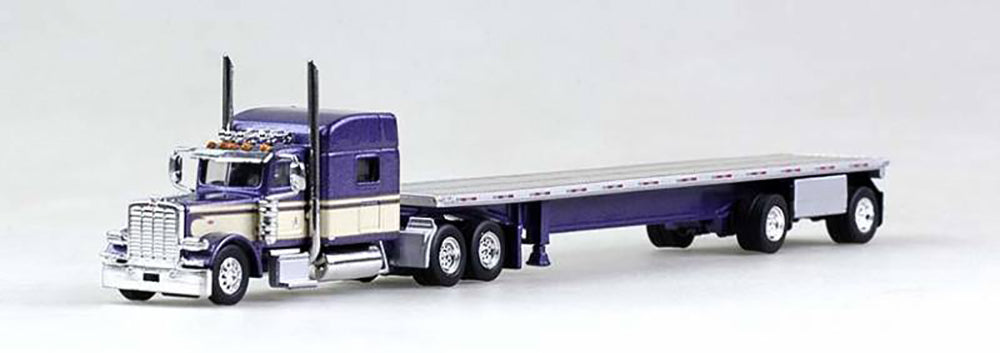 Peterbilt 389 (Purple) Truck with 48ft Spread Axle Trailer 1/87 Scale By Trucks N Stuff