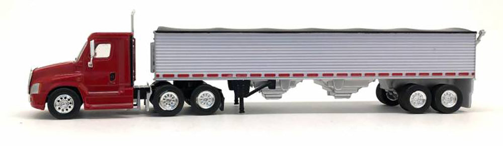Trucks N Stuff Freightliner Cascadia Truck (Red)  with  40' Grain Trailer