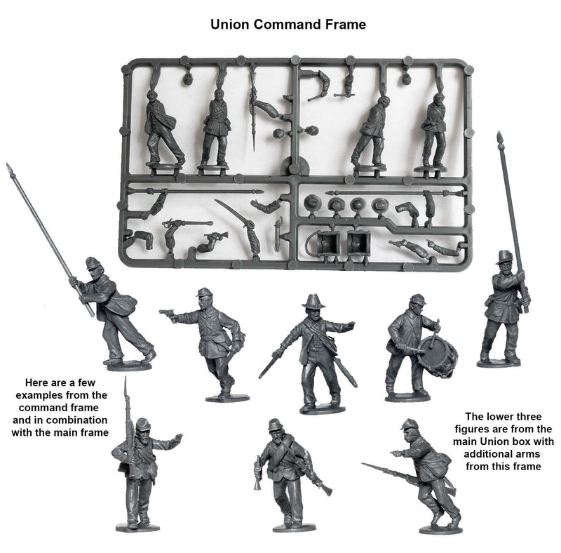 American Civil War Union Infantry 1861-1865 (28 mm) Scale Model Plastic Figures Command Frame
