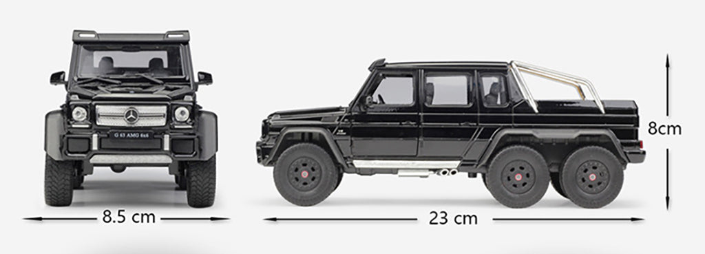 Mercedes-Benz G-Class G63 AMG 6 X 6 (Black) 1:24 Scale Diecast Model Car By Welly Dimensions