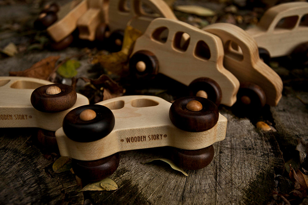 Little French Car Natural Colored Wood Toy Car By Wooden Story