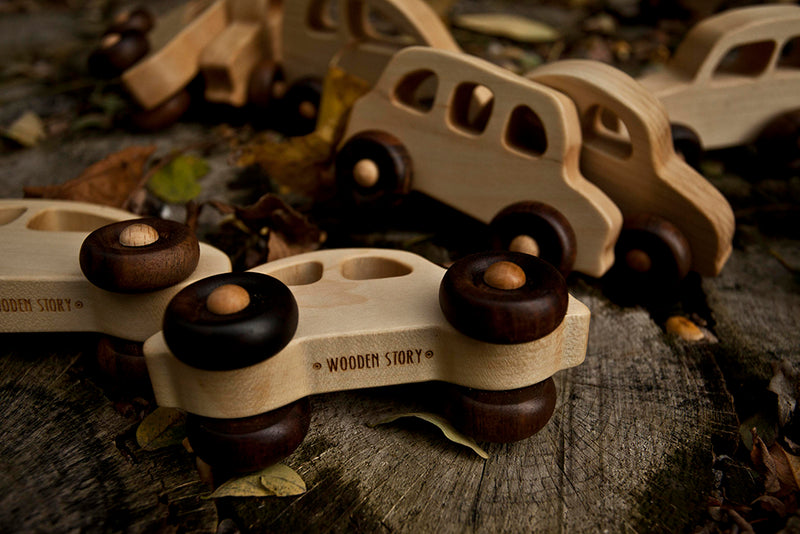 '50's Natural Colored Wood Toy Car By Wooden Story
