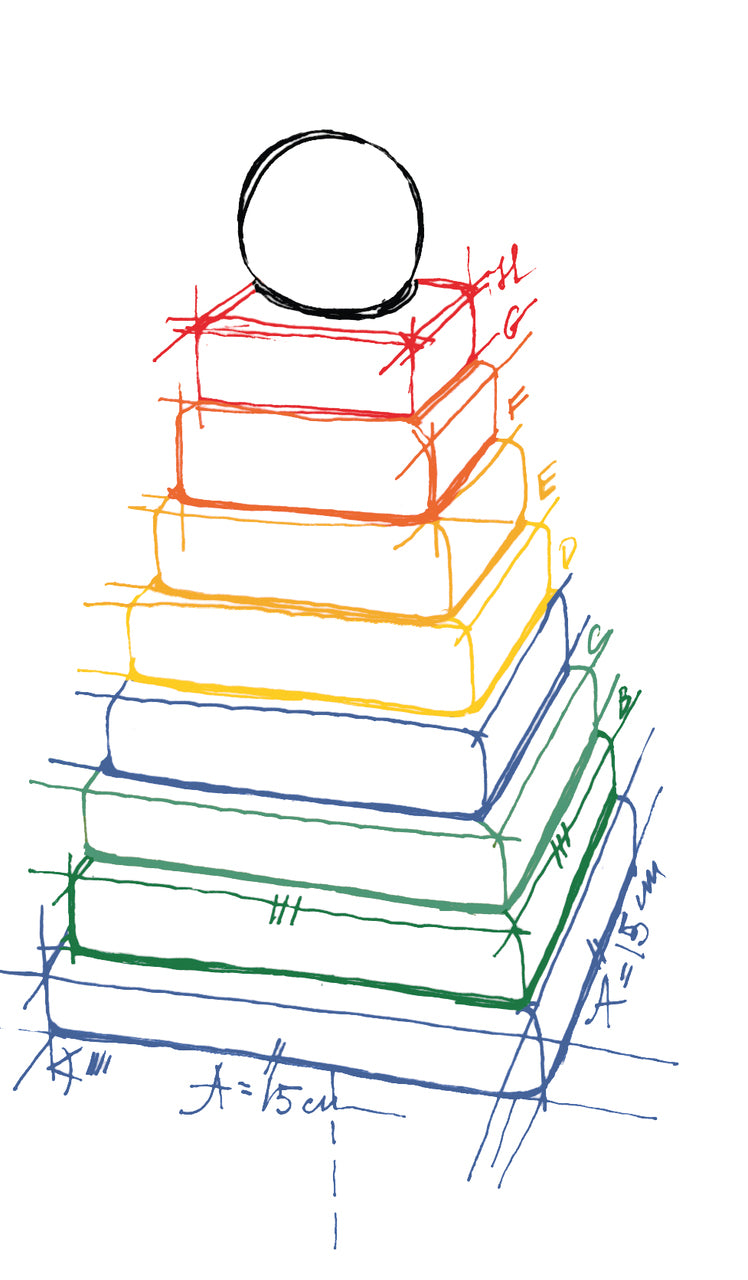 Rainbow Colored Stacking Pyramid By Wooden Story Drawing