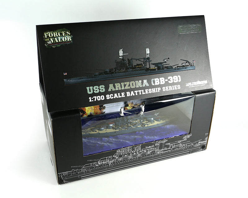 USS Arizona BB-39 1/700 Scale Model By Forces of Valor Box Display