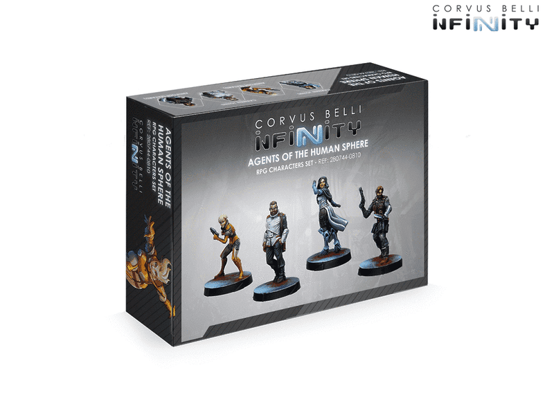Infinity Agents Of The Human Sphere Characters Set Miniature Game Figures Box