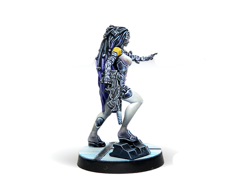 Infinity ALEPH Asuras (Hacker) Miniature Game Figure Right Side View