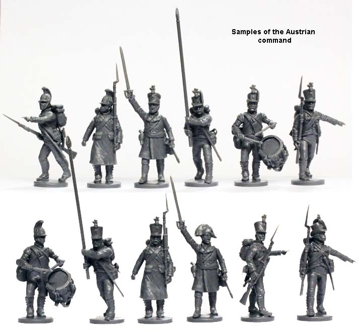 "Napoleonic Austrian ""German"" Infantry 1809 - 1815 28 mm Scale Model Plastic Figures Command Figures"