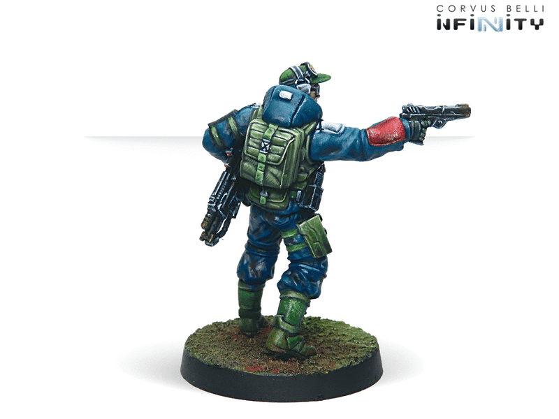 Infinity Ariadna Chasseurs (Rifle, Light Flamethrower) Miniature Game Figure Rear View