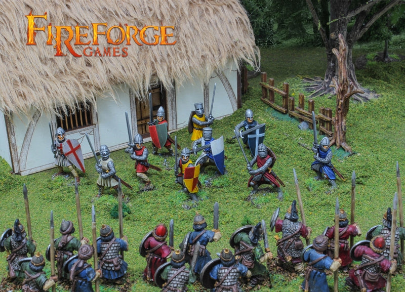 Foot Knights 11th – 13th Century, 28mm Model Figures By Fireforge Games Assembled And Painted