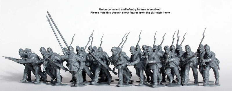 American Civil War Union Infantry 1861-1865 (28 mm) Scale Model Plastic Figures Assembled Set