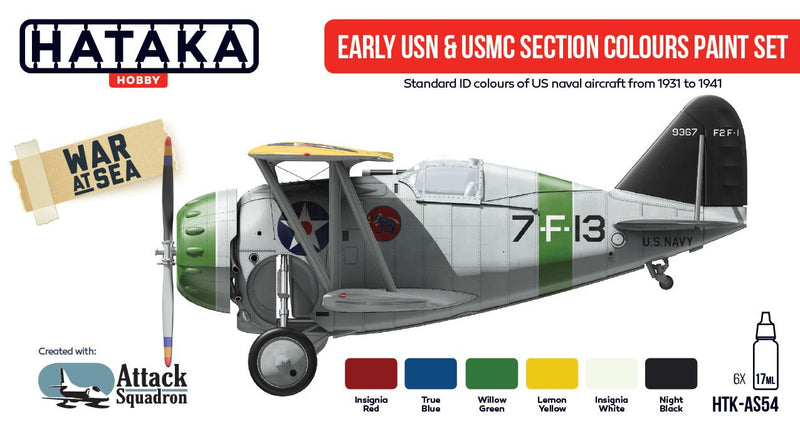Early USN & USMC Section Colors 1931-1941, Red Line (Airbrush-Dedicated) Paint Set By Hataka Hobby