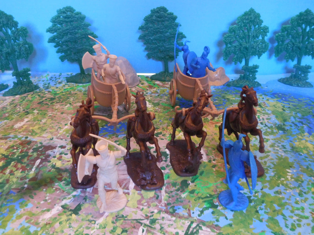 War At Troy Figure Set 2 Chariots (Greeks vs Trojans) 1/30 Scale Plastic Figures By LOD Enterprises