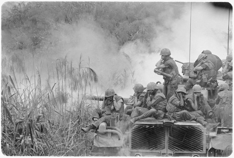 US Marines atop M48 Patton Tank Vietnam 1968