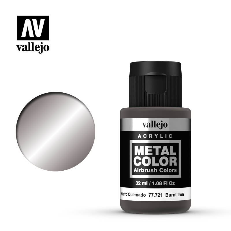 Metal Color Burnt Iron Acrylic Paint, 32 ml Bottle By Acrylicos Vallejo