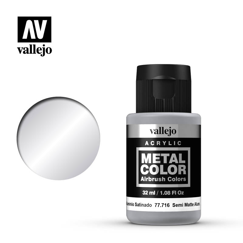 Metal Color Semi Matte Aluminum Acrylic Paint, 32 ml Bottle By Acrylios Vallejo