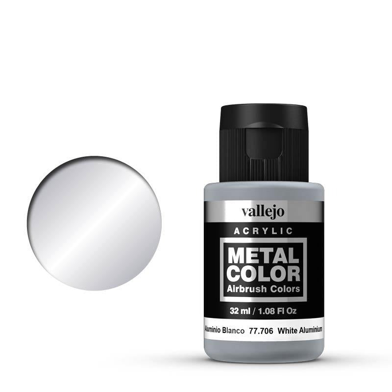 Metal Color White Aluminum Acrylic Paint, 32 ml Bottle By Acrylicos Vallejo