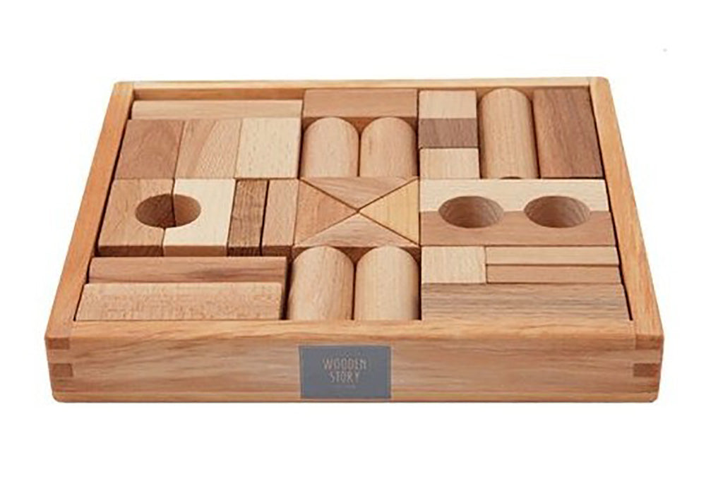 Natural Colored Blocks In Tray - 30 pcs By Wooden Story