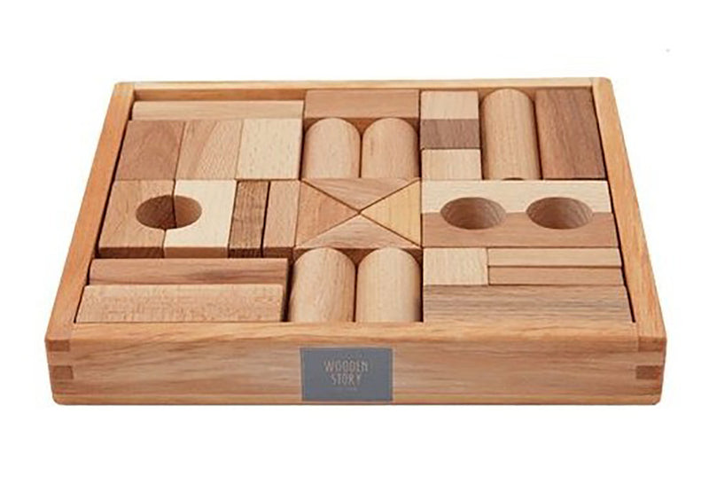 Natural Colored Blocks In Tray - 30 pcs