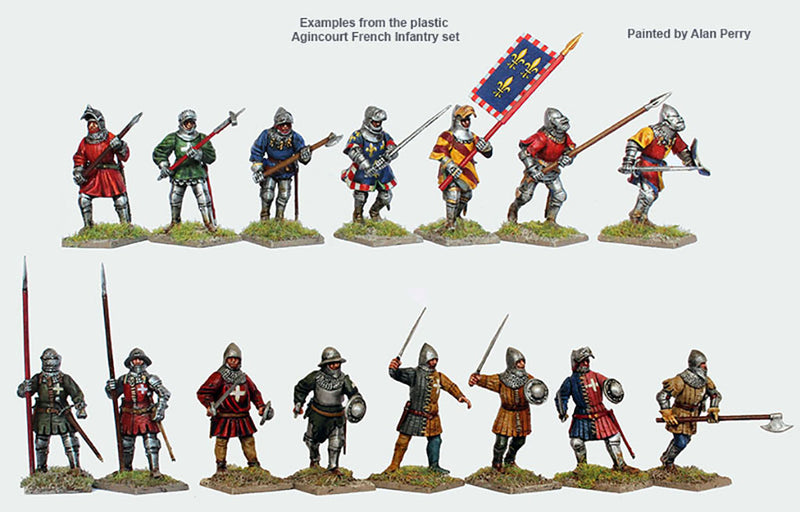 Perry Miniatures Agincourt French Infantry 28 mm Plastic Miniatures Kit Exmaple