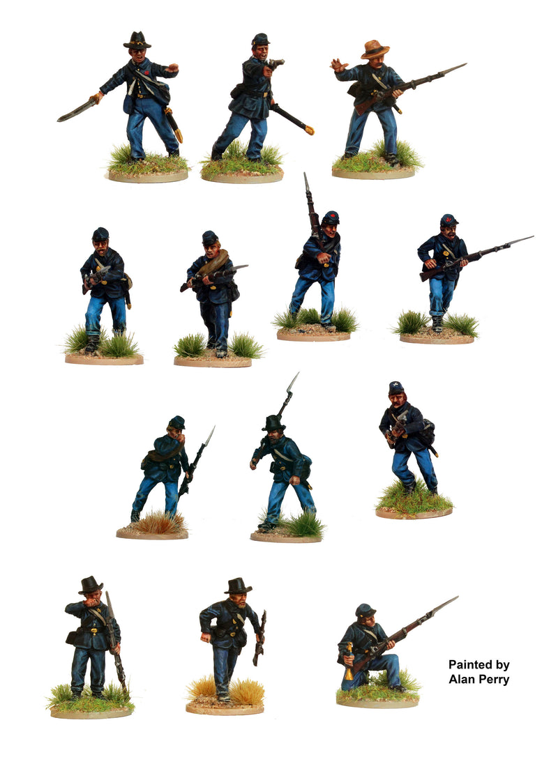 American Civil War Union Infantry 1861-1865 (28 mm) Scale Model Plastic Figures Painted Sample